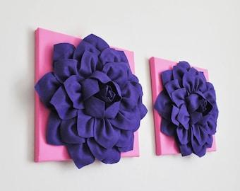 Flower Art ,Purple Pink Wall Art, Kids, Girl Room Decor, Girl Nursery Art, Pretty in Purple and Pink, Set of 2, Textured Canvas Wall Set