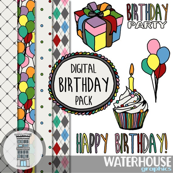 Digital Birthday Party Set Clip Art Digital Papers INSTANT DOWNLOAD