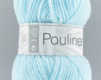 Wool POULINETTE color azure No. 147 acrylic - wool, white horse