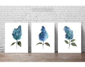Lilac Watercolor Painting set, Blue Teal Green Home Decor, Abstract Flower Minimalist Illustration, Three Lilacs Wall Poster Woman Gift Idea