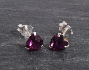 Sterling Silver Crystal heart Earrings Ear Studs handmade
