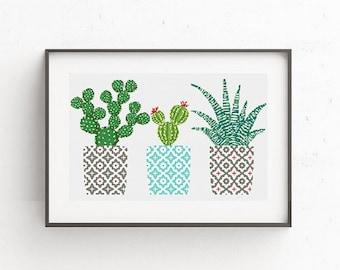 Cactus cross stitch pattern Geometric cross stitch pattern Natural embroidery sampler Flower, floral cross stitch PDF printable Modern Gift
