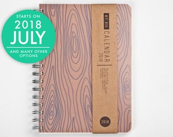 2018 2019 Planner - Gift for him - with a high quality thick paper! Rustic wood A5 Diary! Weekly Calendar Agenda Journal Open-dated