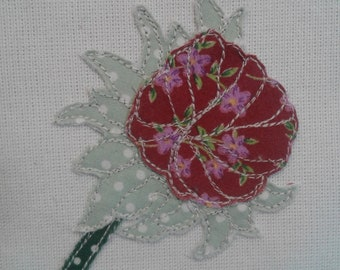 Origional Textile Art Daisy in Bud