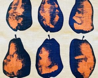 Blue and Copper Pears Linen Tea Towel