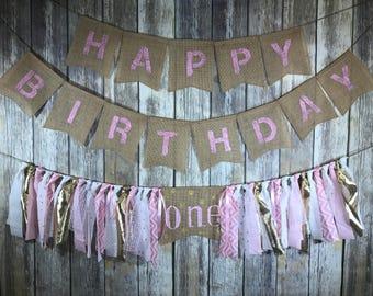 Gold Pink  First Birthday Banner, First Birthday Banner Girl, High Chair Birthday Banner Girl, Pink Gold First Birthday