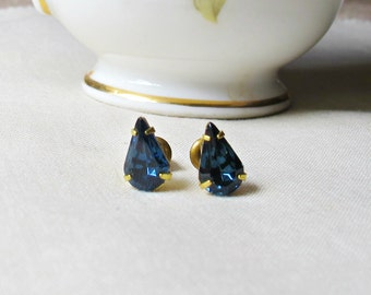 Sapphire Blue Earrings Ear Studs - Swarovski Crystal Vintage Accessories - Teardrop Pear Earstuds For Women