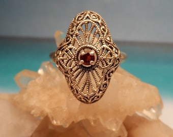 Vintage Art Deco Style Sterling Silver Filigree and Red Garnet Ring Sz 6 CNA
