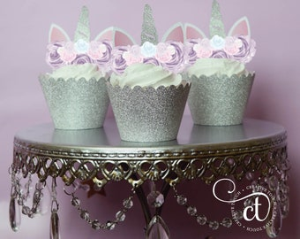 Unicorn Cupcake Topper, Unicorn cake, Unicorn Birthday, Unicorn Party, Unicorn Cake Topper, Unicorn head, Unicorn Decoration, Gold, Silver