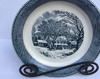 Vintage Currier and Ives serving dish, Royal china, 1950's, serving dish