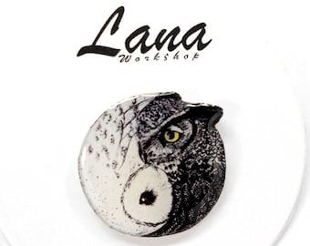 Owl yin yang yin yang brooch, yin yang pin, yin yang jewelry, yin yang clay, yin yang birds, brooch two owls