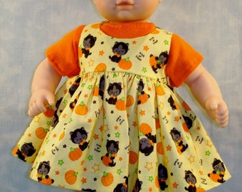 15 Inch Doll Clothes - Cats and Pumpkins Jumper Set handmade by Jane Ellen to fit 15 inch baby dolls