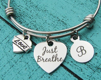 just breathe bracelet, inspirational gift, anxiety awareness, yoga gift, mindfulness jewelry, aa addiction recovery na, cancer survivor gift