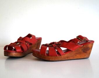 Vintage wooden platform sandals Red genuine leather platform shoes Boho hippie folk festival wedge shoes size Made in India strappy sandals
