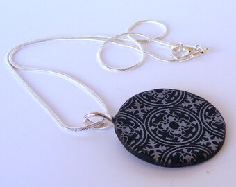 Patterned Silver and Black Clay Necklace