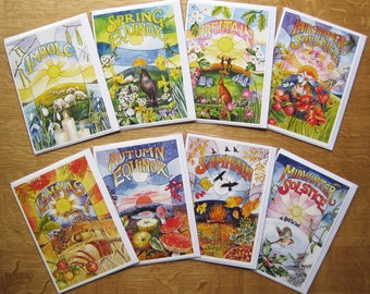 Set of 8 Festival Cards, Celtic Wheel of the Year