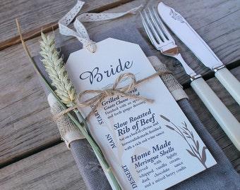 Wheatgrass Wedding Menu Cards (set of 25) plus free twine