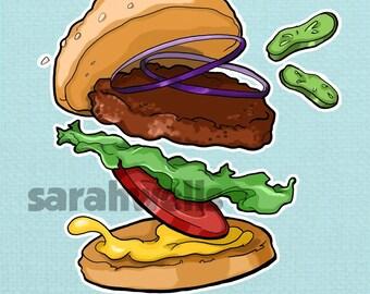 Burger / Food Art Print / Falling Food / Hamburger