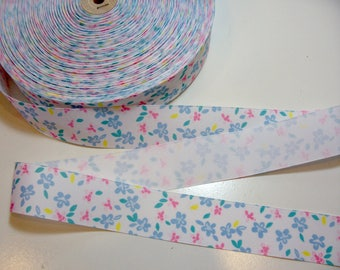Flower Ribbon, Pastel Flower Grosgrain Ribbon 1 1/2 inches wide x 10 yards, Blue Pink
