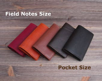 Genuine Leather Cover for Field Notes or Moleskine Pocket size Notepad Journal. 9x14cm/3.5x5.5 inch. Brown.