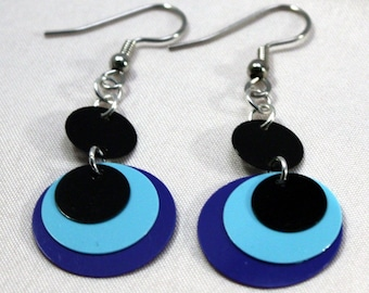 Sequin Earrings Two Tone Blue & Black Circle Earrings Plastic Sequins