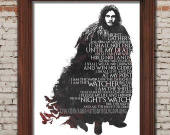 The Night's Watch Oath - 8x10 Printable Poster -- DIGITAL DOWNLOAD / Instant Download / Printable / Jon Snow / Game of Thrones