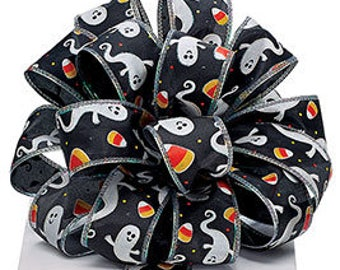 5+ Yards Halloween Ghost and Candy Corn Ribbon - #9 - 1.5 Inch - Wired Edge