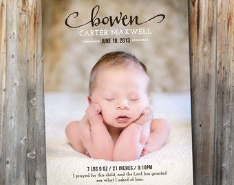 Baby Announcement: Simply Vintage, Printable, Baby Boy Birth, Baby Girl, Photo Card, Digital File, Custom