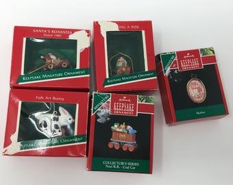 Vintage Set of 5 Hallmark Keepsake Miniature Ornaments - Collection from 1989-1990