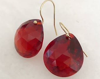 14k gold filled red sapphire earrings- 30.15 carats