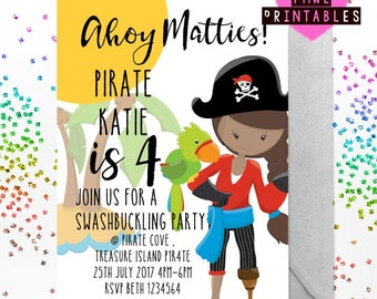 Printable Pirate girl party invite , sleep over slumber party , free backing printable , print your own , birthday party