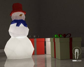 Low Poly XXL DIY Snowman Papercraft Lamp, Create Your Own 3D Paper Craft Christmas Gift DIY Mask Low Poly, Lamp Origami Snowman, Eburgami