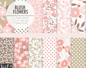BLUSH FLOWERS floral digital paper.  Blush, pink, beige, brown wedding hand drawn patterns.