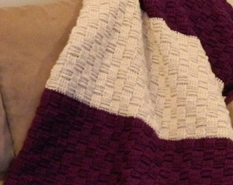 Blanket - Crochet Afghan - Basket Weave - Full Size - Purple