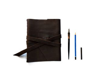 "Extra Large Leather Sketchbook, Leather Journal with double wrap tie 8"" x10"""