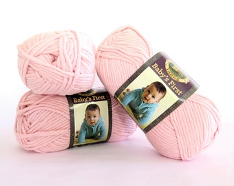 Baby's First Pink Yarn Twinkle Toes Lion Brand 3 Skeins Craft Supply