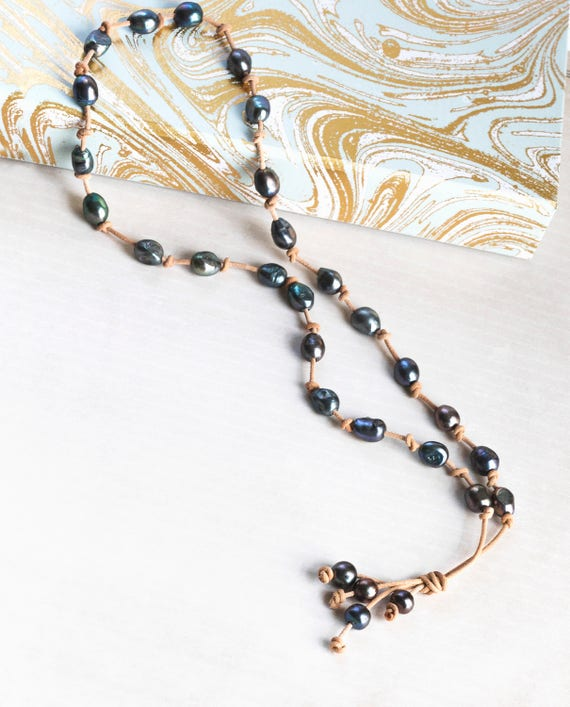 Tahitian Pearl And Leather Necklace: Baroque Pearl Leather Necklace Tahitian Style Leather Pearl