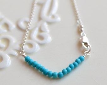 Genuine Turquoise Bracelet, Chevron Pattern, Real Gemstone Beads, Aqua Blue, Dainty and Delicate, Rolo Chain, Sterling Silver Jewelry