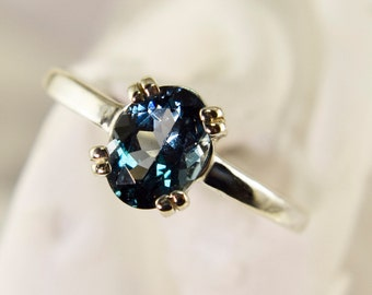 London Blue Ring, Genuine Gemstone 8x6mm 1.5ct Double Prong Ring Set in 925 Sterling Silver Solitaire Ring