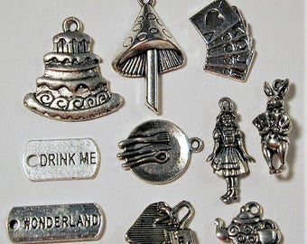 Alice in Wonderland Inspired Charm Collection 10pcs. C142