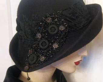 Asymmetrical Cloche with Victorian Beadwork