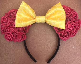Disney Beauty and the Beast Inspired Red Rose and Yellow Bow Floral Minnie ears