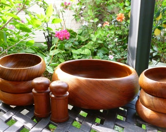 Teak Wood Salad Bowl Set Of 6 Individual Bowls One Large Serving Bowl With Matching Salt And Pepper Shakers By Goodwood
