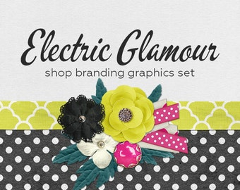 Ribbon Flower Shop Branding Banners, Avatar Icons, Business Card, Logo Label + More - 13 Premade Graphics Files - ELECTRIC GLAMOUR