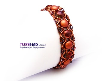 Copper Color Candy Beads Beadwoven/ Beaded Bracelet