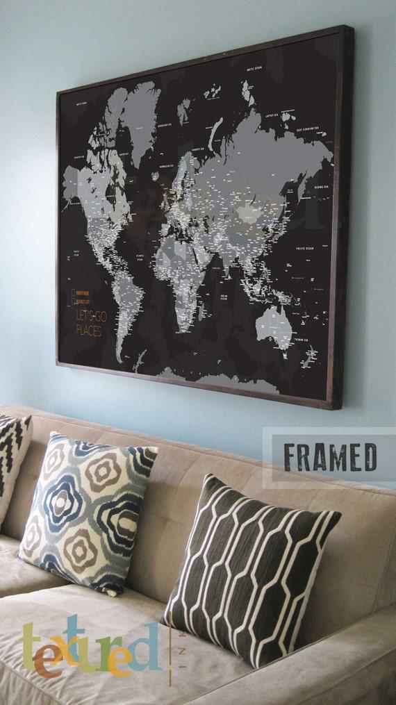 Black and white World map FRAMED World Map Push Pin Travel