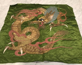 Vintage Silk Square with Dragon