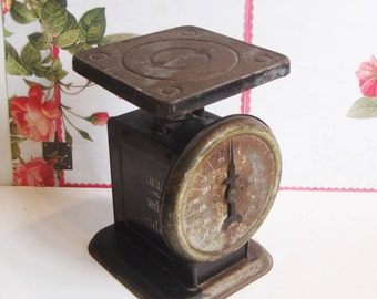 Industrial Farmhouse Rusty Black Scale, Patented 1912, American Family Vintage Scale