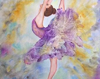 "Ballerina Fantasy Original Watercolor Painting. 11""x14"""