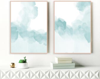 Calming Blue Abstract Art, Set of 2 Watercolor Art Prints, Two Serene Paintings, Printable Beach House Art, Original Art, Extra Large Art